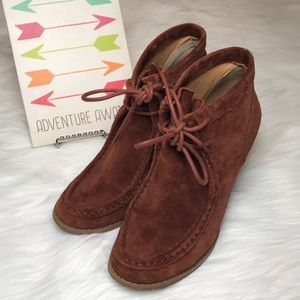 Lucky Brand  suede leather wedge booties size 9.5